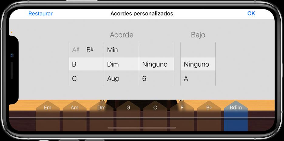 Ruedas de control de acordes personalizados