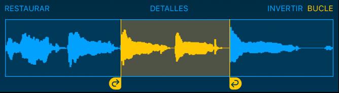 El audio entre los tiradores izquierdo y derecho del bucle tiene aplicado un bucle.