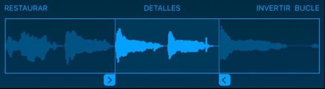 Arrastra los tiradores azules para acortar el principio o el final del sample.