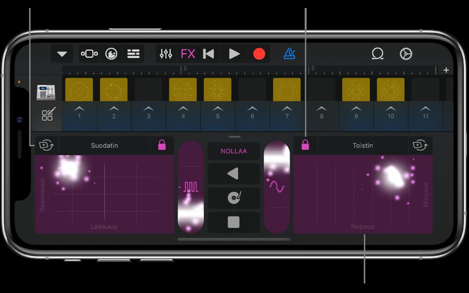Kuva. Live Loopsit -ruudukossa näkyy RemixFX.