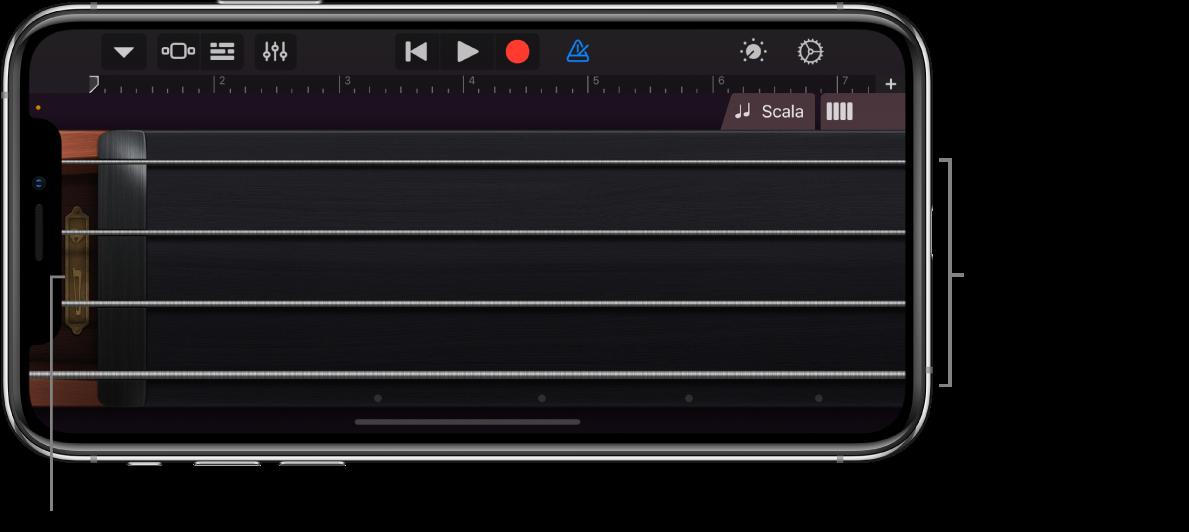 Note visualizzate sullo strumento Touch Archi