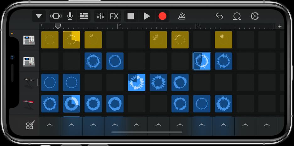 Rajah. Gris Live Loops dengan sel dimainkan.