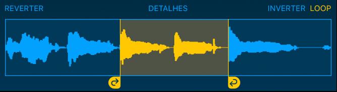 O áudio entre os puxadores esquerdo e direito do loop é repetido.