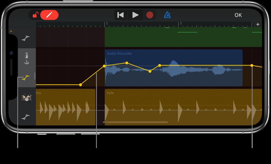 Figura. Automação da trilha, mostrando as curvas de automação, os pontos de automação e o botão Ignorar.