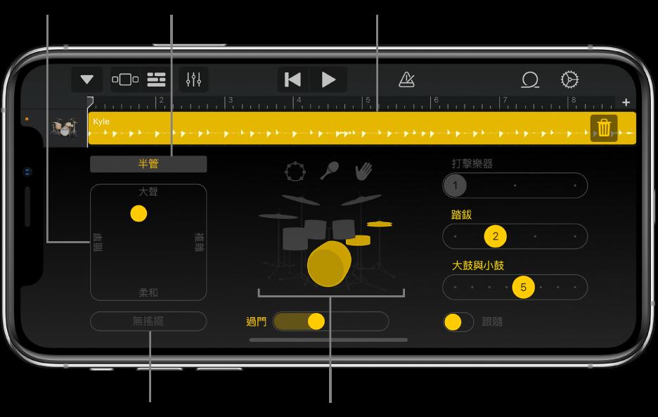 主要介面區域帶有說明的「鼓手」。
