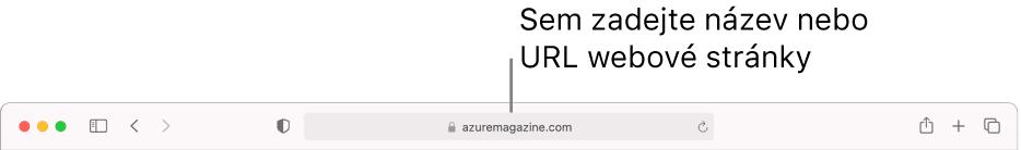 Dynamické vyhledávací pole vSafari, do kterého lze zadat název nebo URL stránky