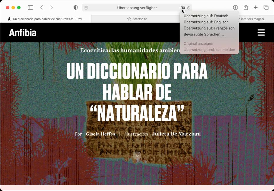 """Eine Webseite in spanischer Sprache. Das intelligente Suchfeld enthält eine Taste """"Übersetzen"""" und zeigt eine Liste der verfügbaren Sprachen."""