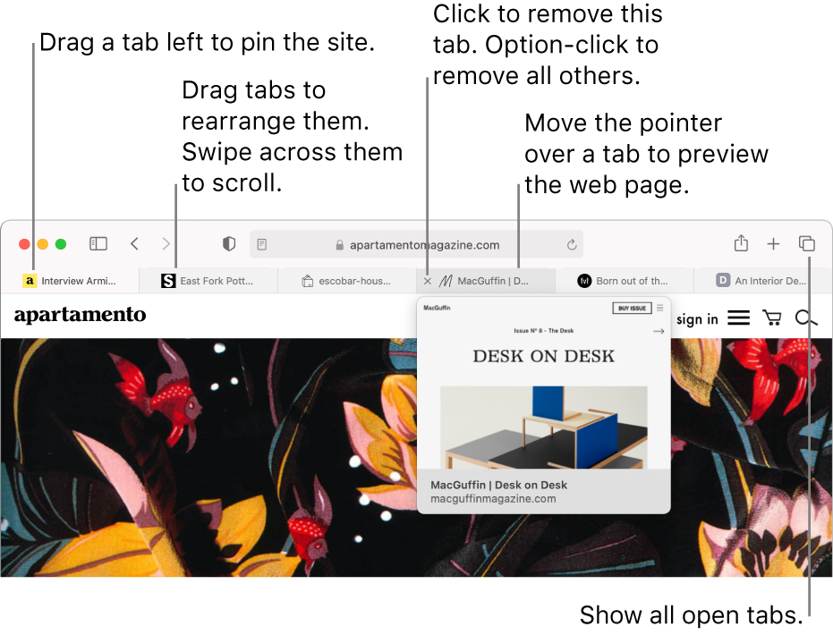 The Safari window with several tabs open, with the pointer over a tab showing a preview of the web page.