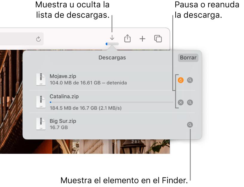 El botón Descargas en la barra de herramientas, con la lista de descargas abajo.