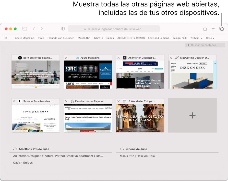 """La barra de herramientas, mostrando el botón """"Mostrar resumen de pestañas""""."""