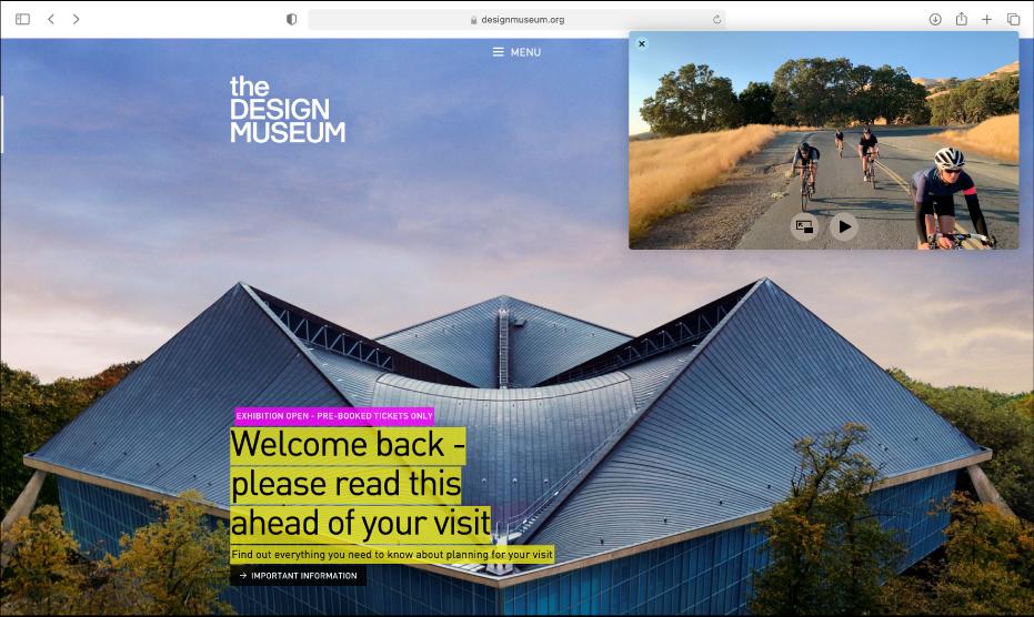 Fenêtre «Image dans l'image» qui flotte au-dessus d'un autre site Web.