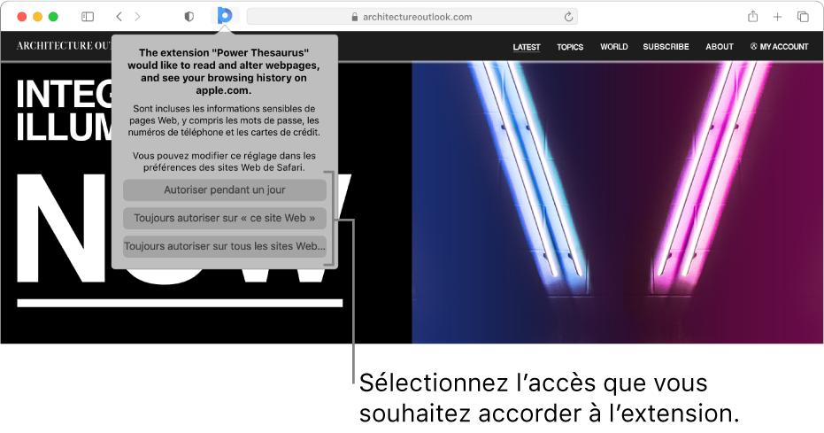 Une page Web qui affiche l'icône d'une extension dans la barre d'outils de Safari ainsi que des options pour restreindre ses droits d'accès.