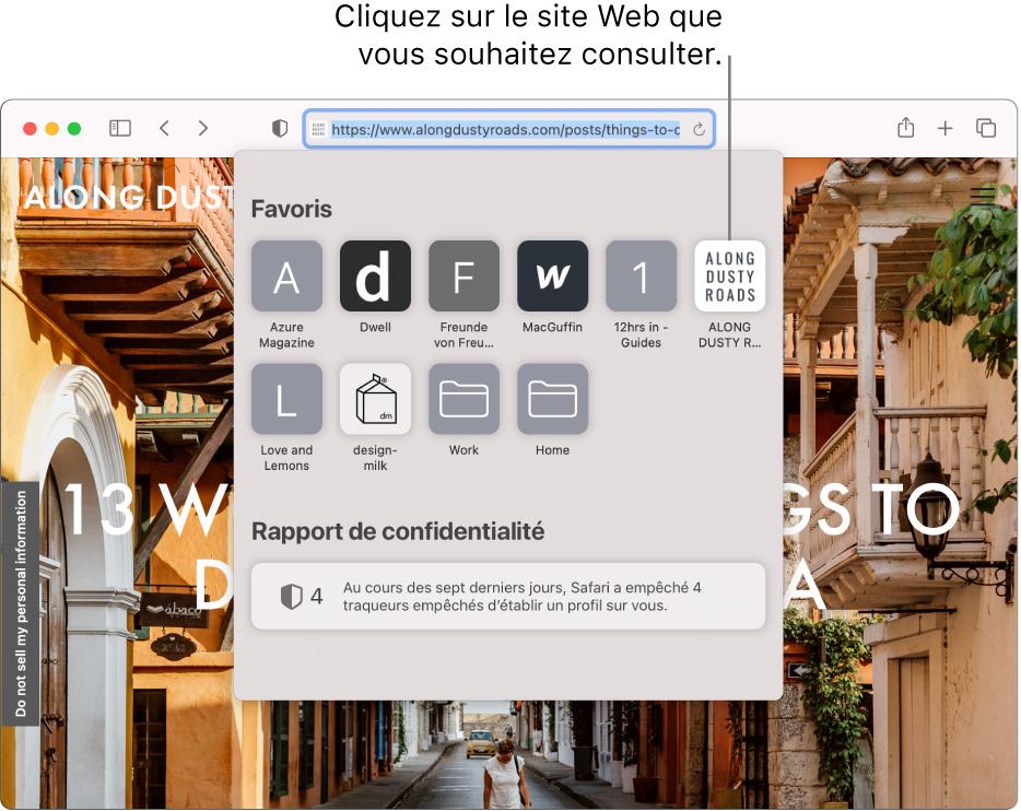 Le champ de recherche intelligente de Safari sous lequel la page de démarrage affiche les favoris et un résumé du rapport de confidentialité.