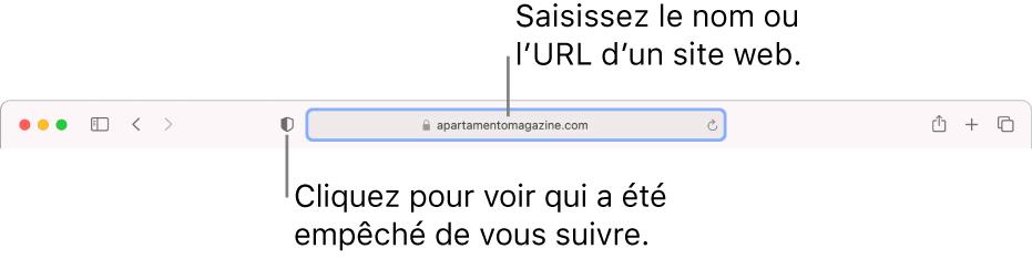 La barre d'outils de Safari affichant le bouton «Rapport de confidentialité» ainsi qu'un siteweb dans le champ de recherche intelligente.