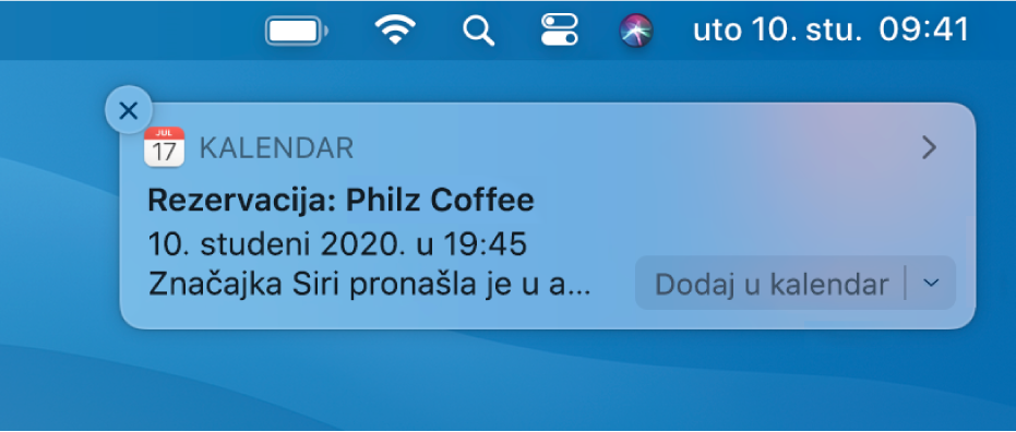 Siri prijedlog za dodavanje događaja iz Safarija u Kalendar.