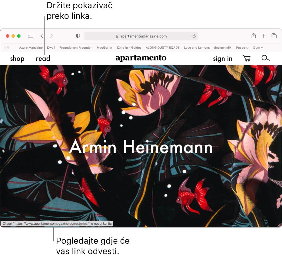 Pokazivač preko linka na web stranici s URL-om linka koji se prikazuje na statusnoj traci na dnu prozora.