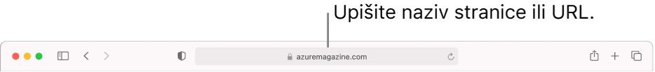 Pametno polje za pretraživanje preglednika Safari, gdje možete unijeti naziv stranice ili URL.