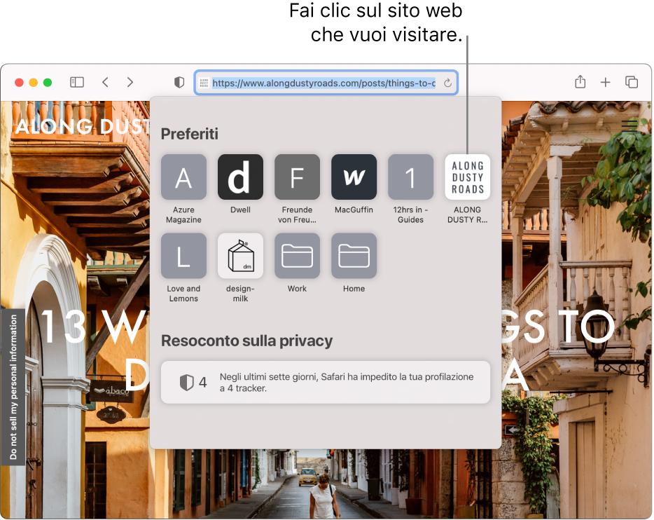 Il campo di ricerca smart di Safari; sotto di esso si trova la pagina di avvio che mostra Preferiti e un Resoconto sulla privacy.