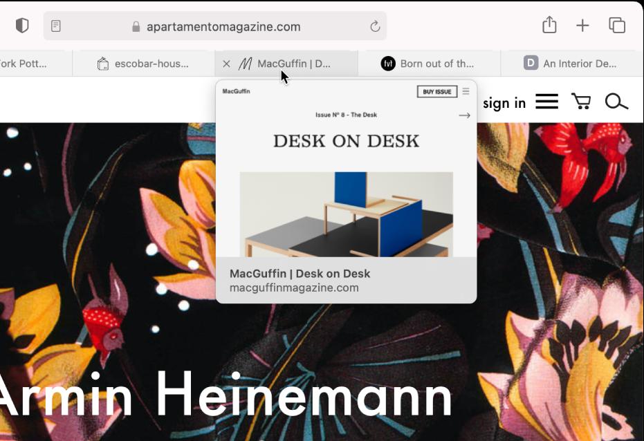 La finestra di Safari con vari pannelli aperti e il puntatore sopra un pannello che mostra un'anteprima della pagina web.