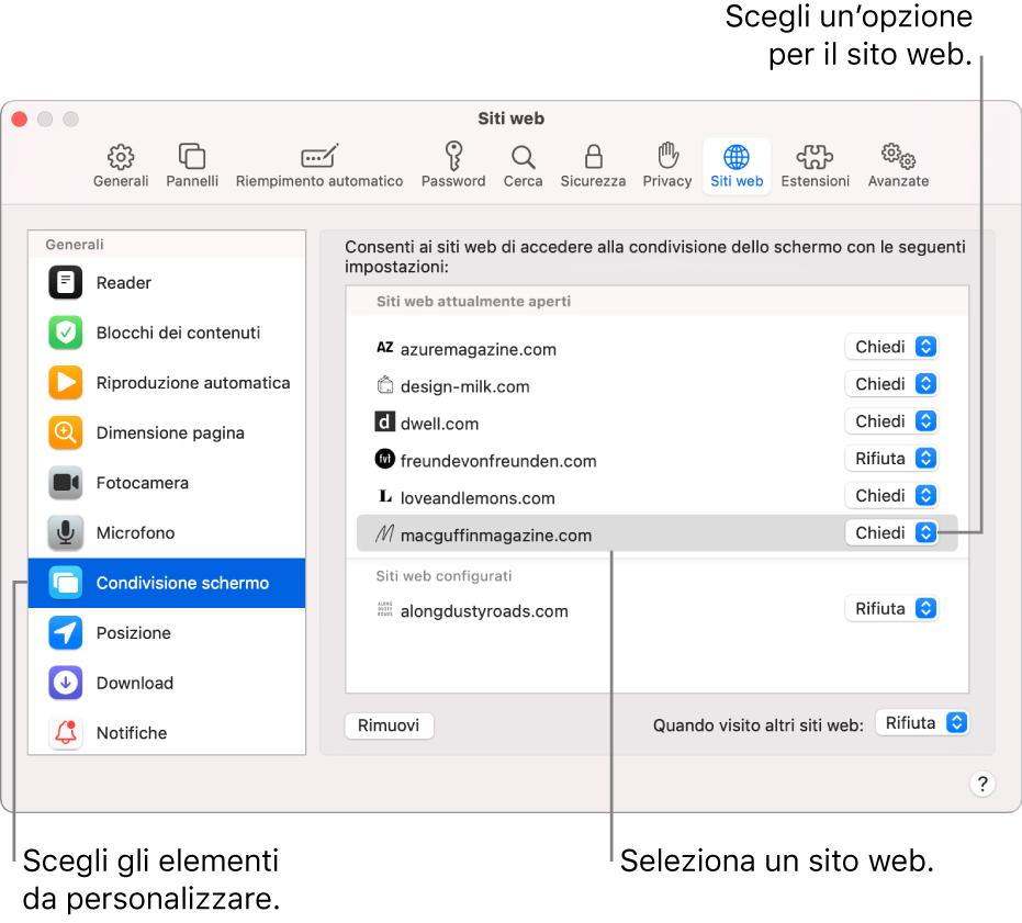 Il pannello Siti web delle preferenze di Safari, dove puoi personalizzare il modo in cui visiti i singoli siti web.