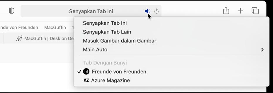 Senarai tapak web yang mainkan audio.