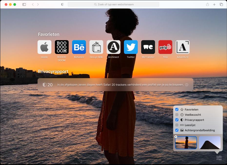 De startpagina van Safari met favoriete websites, een samenvatting van het privacyrapport en aanpassingsopties.