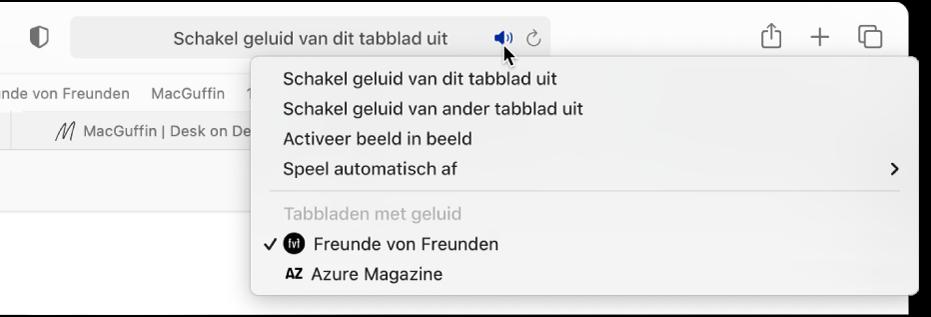 Een lijst met websites waarop audio wordt afgespeeld.