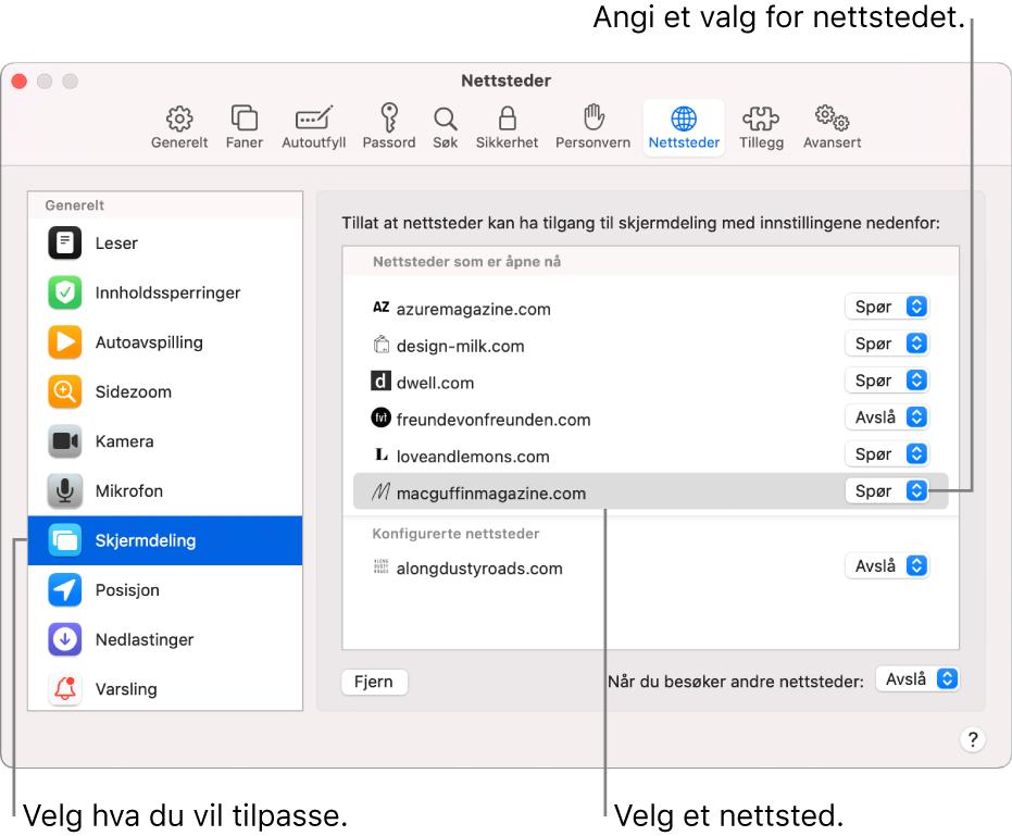 Nettsteder-panelet i Safari-valg, der du kan tilpasse hvordan du surfer på enkelte nettsteder.