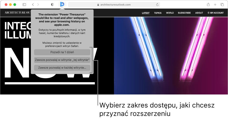 Witryna pokazująca ikonę rozszerzenia na pasku narzędzi wSafari oraz opcje ograniczania dostępu rozszerzenia.