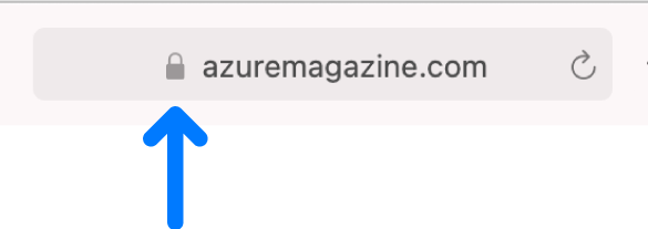 O ícone de criptografia (parece um cadeado) para um site com certificado padrão.