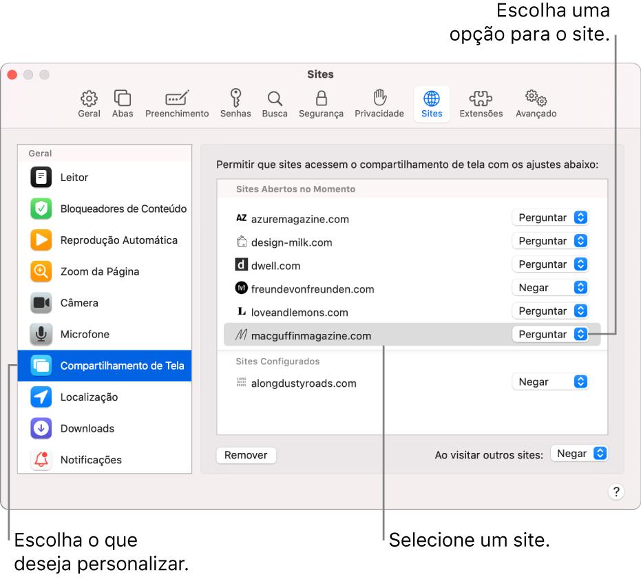 O painel Sites das preferências do Safari, onde você pode personalizar a navegação nos sites individualmente.