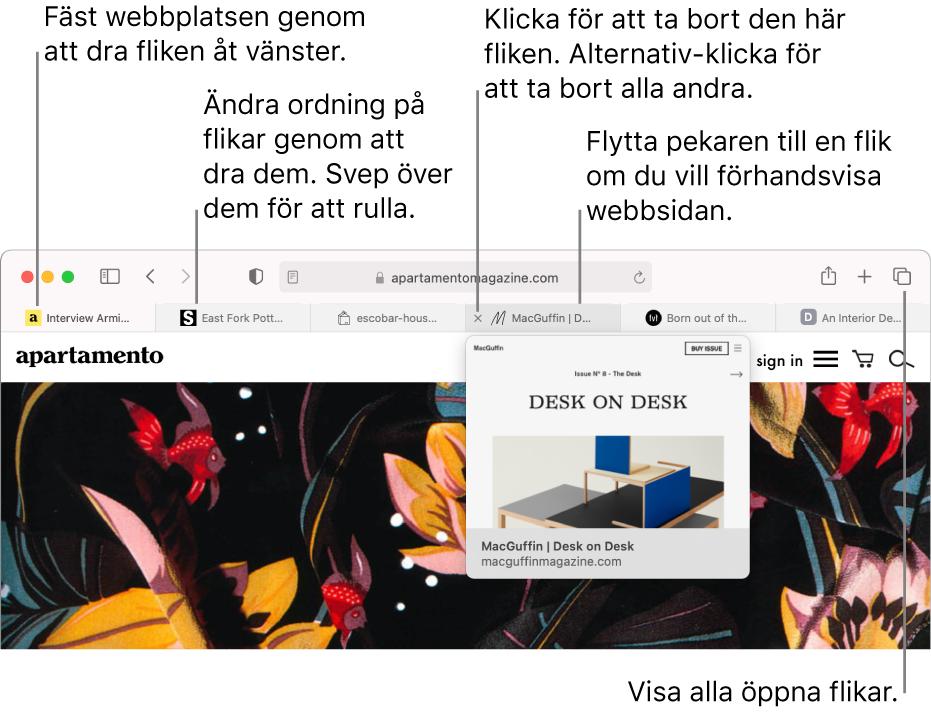 Safari-fönstret med flera öppna flikar och pekaren ovanpå en flik där en förhandsvisning av webbsidan syns.