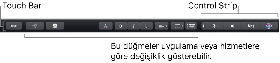Sağda daraltılmış Control Strip'i ve uygulamaya ya da göreve göre değişen düğmeleri gösteren, klavyenin üst tarafındaki Touch Bar.