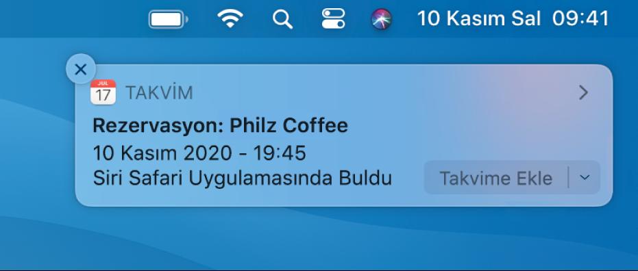 Safari'den Takvim'e etkinlik eklemek için Siri Önerisi.