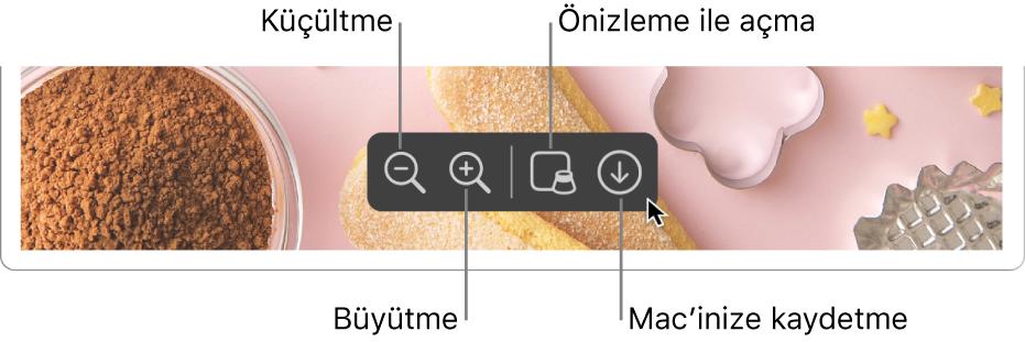 PDF'i görüntüleyen Safari penceresinin en altında onu büyütmek veya küçültmek, Önizleme ile açmak ve Mac'inize kaydetmek için kullanılan denetimler bulunur.
