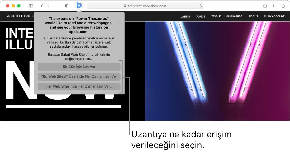 Safari araç çubuğunda genişletme simgesini ve genişletmenin erişimini sınırlama seçeneklerini gösteren web sayfası.