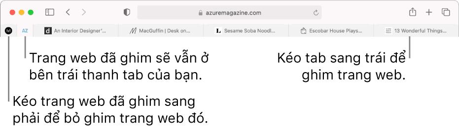 Trang web được ghim trên thanh tab của Safari.
