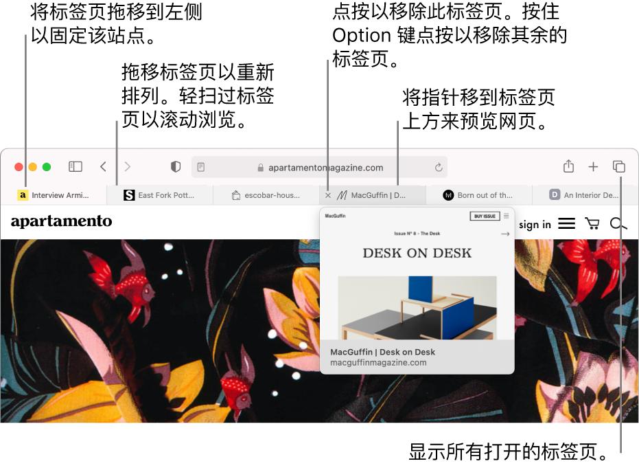 打开了几个标签页的 Safari 浏览器窗口,其中指针位于标签页上并显示网页预览。