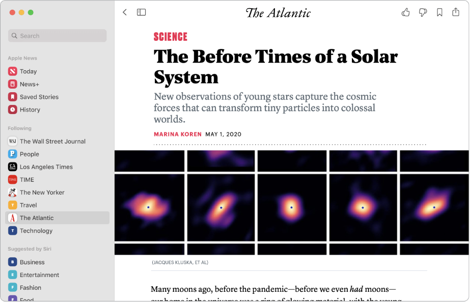 The Apple News window showing a channel selected in the sidebar and a story from the channel on the right.