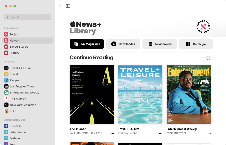 The Apple News window showing News+ selected in the sidebar. In the Apple News+ Library on the right, the collection My Magazines is selected. Below the title Continue Reading, issues are arranged in a grid.