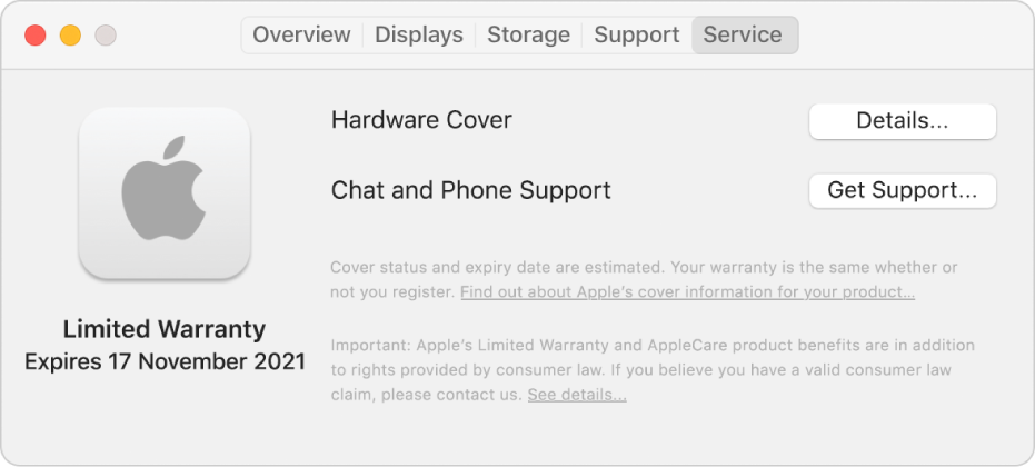 The Service pane in System Information. The pane shows the Mac is covered under a limited warranty and the expiry date. The Details and Get Support buttons are on the right.