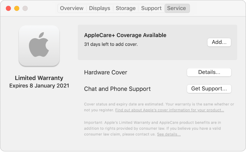 The Service pane in System Information. The pane shows the Mac is covered under Limited Warranty and is eligible for AppleCare+. The Add, Details and Get Support buttons are on the right.