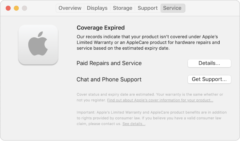 The Service pane in System Information. The pane shows the Mac is no longer covered under Limited Warranty. The Details and Get Support buttons are on the right.