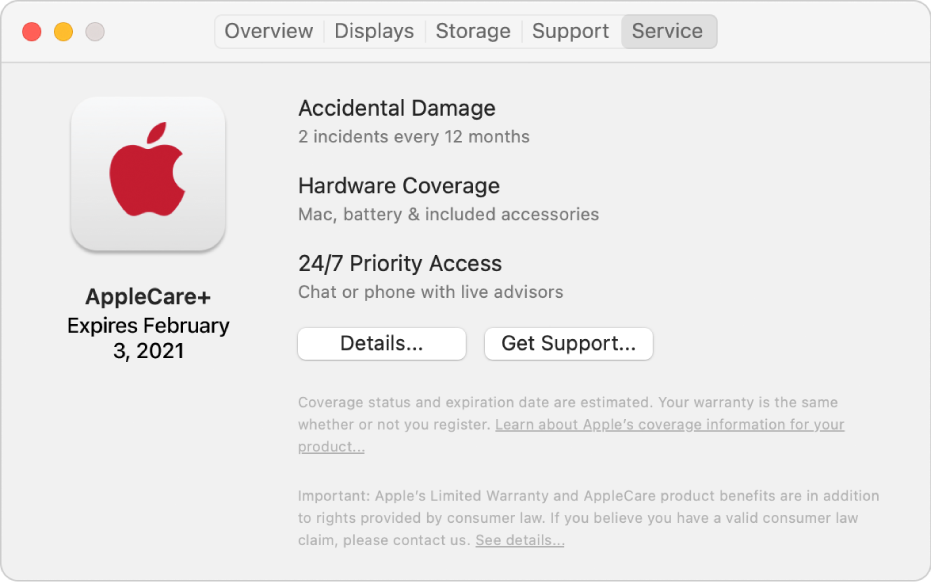 The Service pane in System Information. The pane shows the Mac is covered under AppleCare+. The Details and Get Support buttons are near the bottom.
