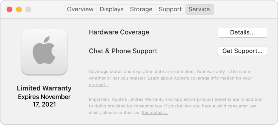 The Service pane in System Information. The pane shows the Mac is covered under a limited warranty and the expiration date. The Details and Get Support buttons are on the right.