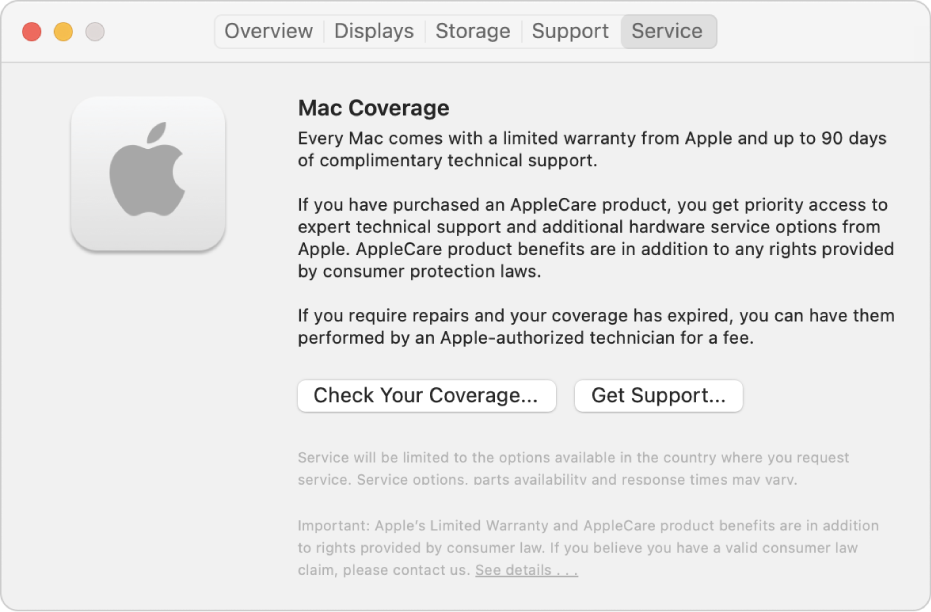The Service pane in System Information. The pane shows information about Mac technical support coverage. The Check Your Coverage and Get Support buttons are near the bottom.