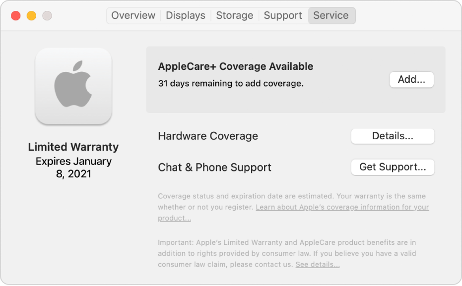 The Service pane in System Information. The pane shows the Mac is covered under Limited Warranty and is eligible for AppleCare+. The Add, Details, and Get Support buttons are on the right.
