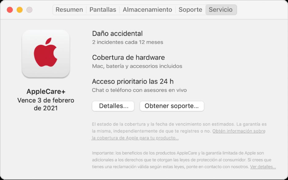 """El panel Servicio en Información del sistema. El panel muestra que la Mac tiene cobertura de AppleCare+. Los botones Detalles y """"Obtener soporte"""" están cerca de la parte inferior."""