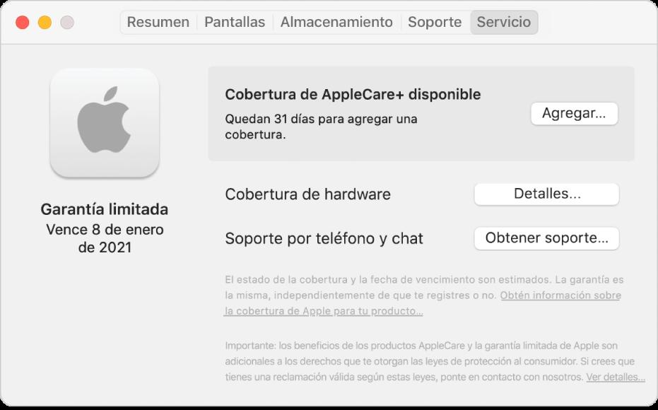 """El panel Servicio en Información del sistema. El panel muestra que la Mac incluye cobertura de garantía limitada y puede optar por AppleCare+. Los botones Agregar, Detalles y """"Obtener soporte"""" están a la derecha."""