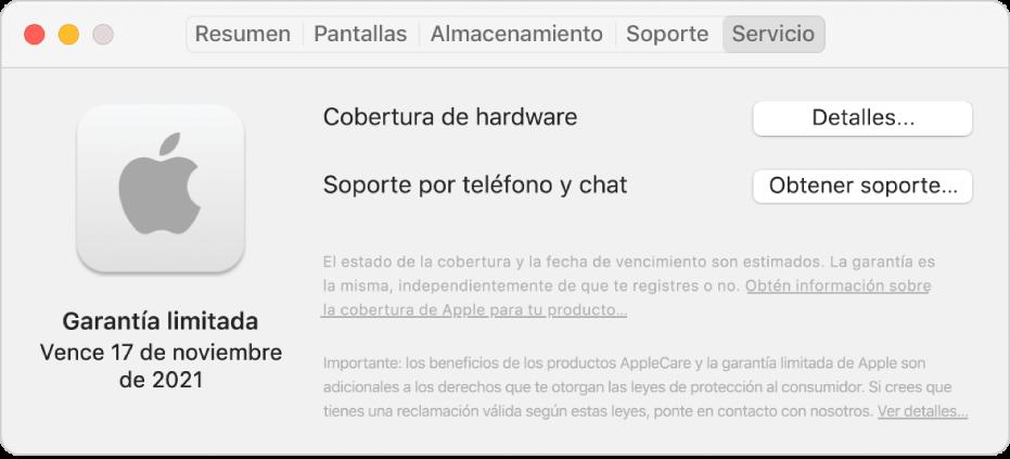 """El panel Servicio en Información del sistema. El panel muestra que la Mac incluye cobertura de garantía limitada y la fecha de vigencia. Los botones Detalles y """"Obtener soporte"""" están a la derecha."""